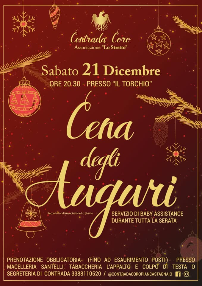 Palio di Piancastagnaio, Contrada Coro: 21/12 Cena degliAuguri