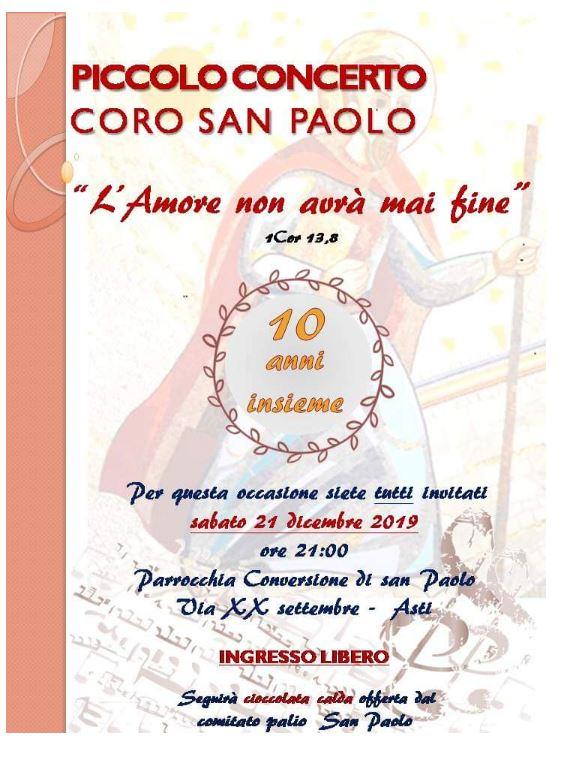 Palio di Asti, Comitato Palio San Paolo: 21/12 Piccolo concerto del coro SanPaolo