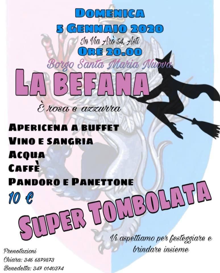 Palio di Asti, Comitato Palio Borgo Santa Maria Nuova: 05/01/2020 Apericena Befana Rosa-Azzurra e SuperTombolata