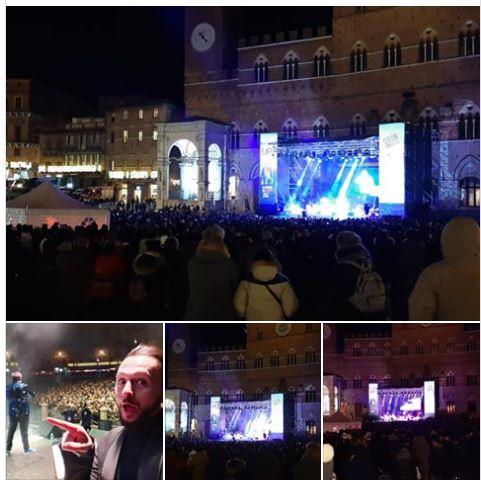 Siena: Alle 2.30 la Piazza del Campo è ancora piena e balla con gli 80 Febbre nella notte diCapodanno