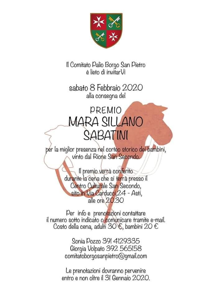 Palio di Asti, Comitato Palio Borgo San Pietro: 08/02 Consegna Premio Mara SillanoSabatino
