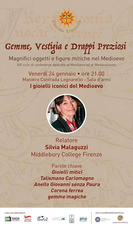 Palio di Legnano, Contrada Legnarello: Domani 24/01 Gemme, Vestigia e Drappi Preziosi – Il Medioevo a Legnarello conn SilviaMalaguzzi