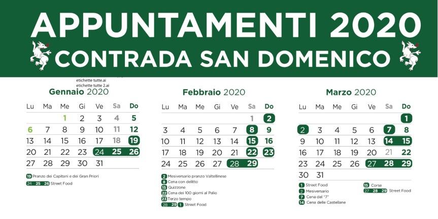 Palio di Legnano, Contrada San Domenico: Eventi in Contrada Mesi Gennaio, Febbraio, Marzo  ( aggiornato)