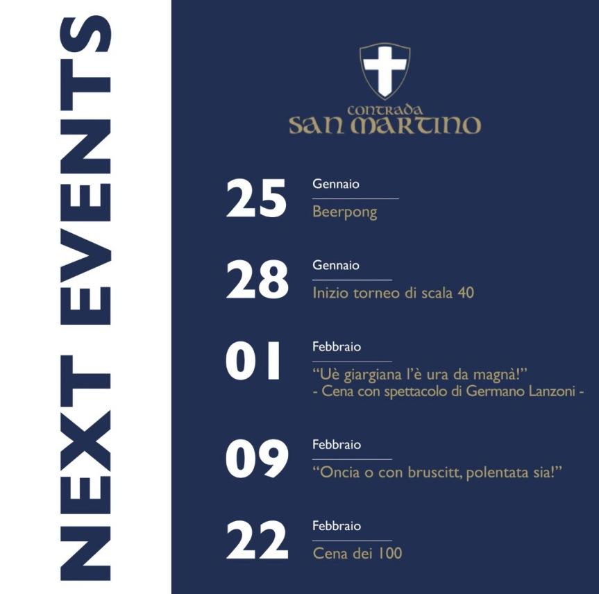 Palio di Legnano, Contrada San Martino: I Prossimi Eventi in Contrada nel mese di Febbraio2020