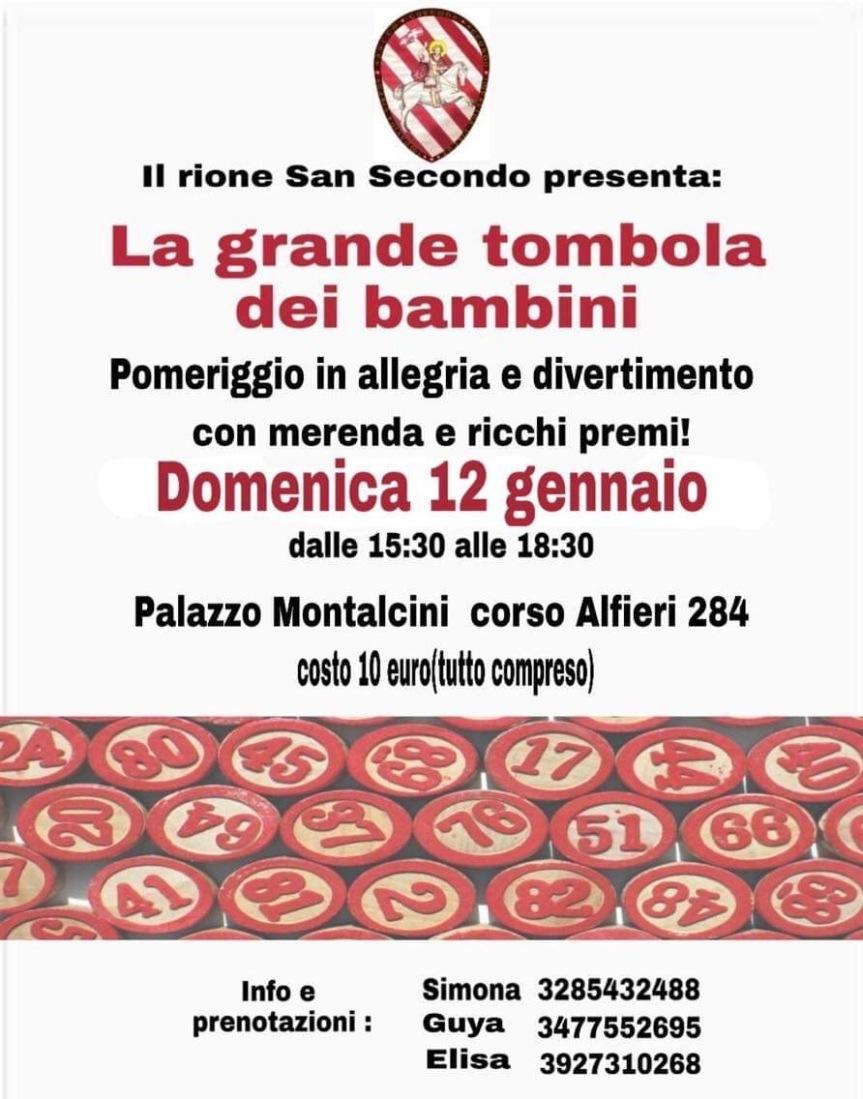 """Palio di Asti, Comitato Palio Rione San Secondo: 12/01 """"La Grande Tombola deiBambini"""""""