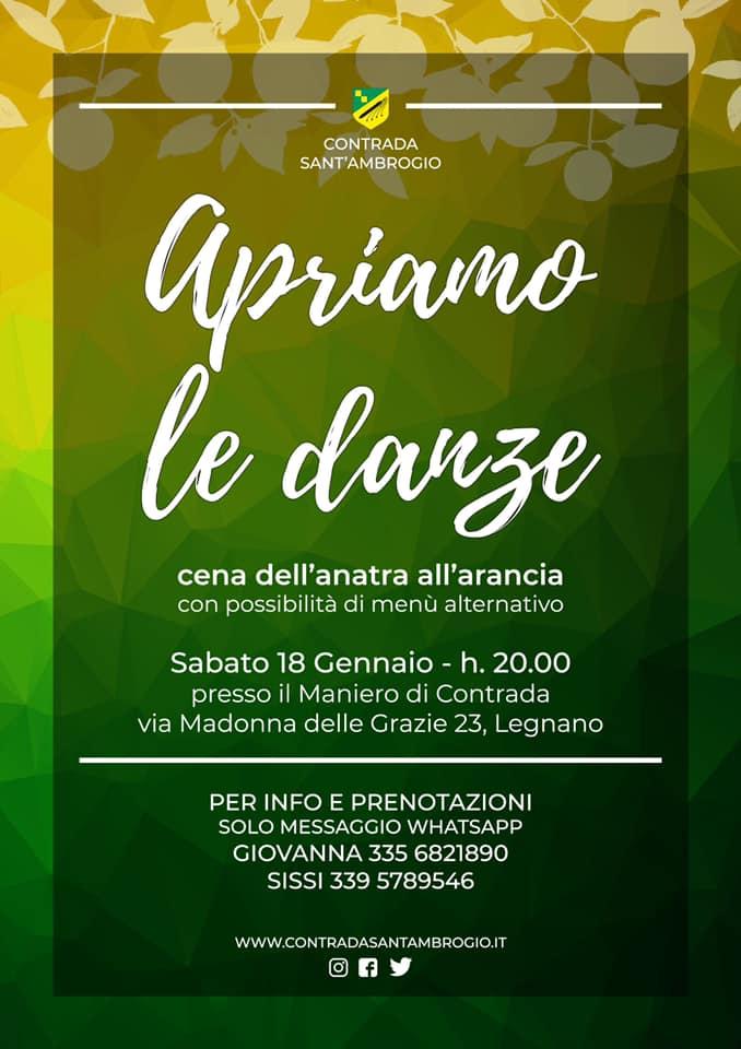 Palio di Legnano, Contrada Sant'Ambrogio: 18/01 Cena dell'anatra all'arancia