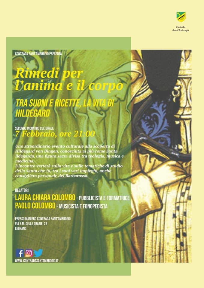 """Palio di Legnano, Contrada Sant'Ambrogio: Domani 07/02 """"Rimedi per l'anima e il corpo"""" , tra suoni e ricette la vita diHildegard"""