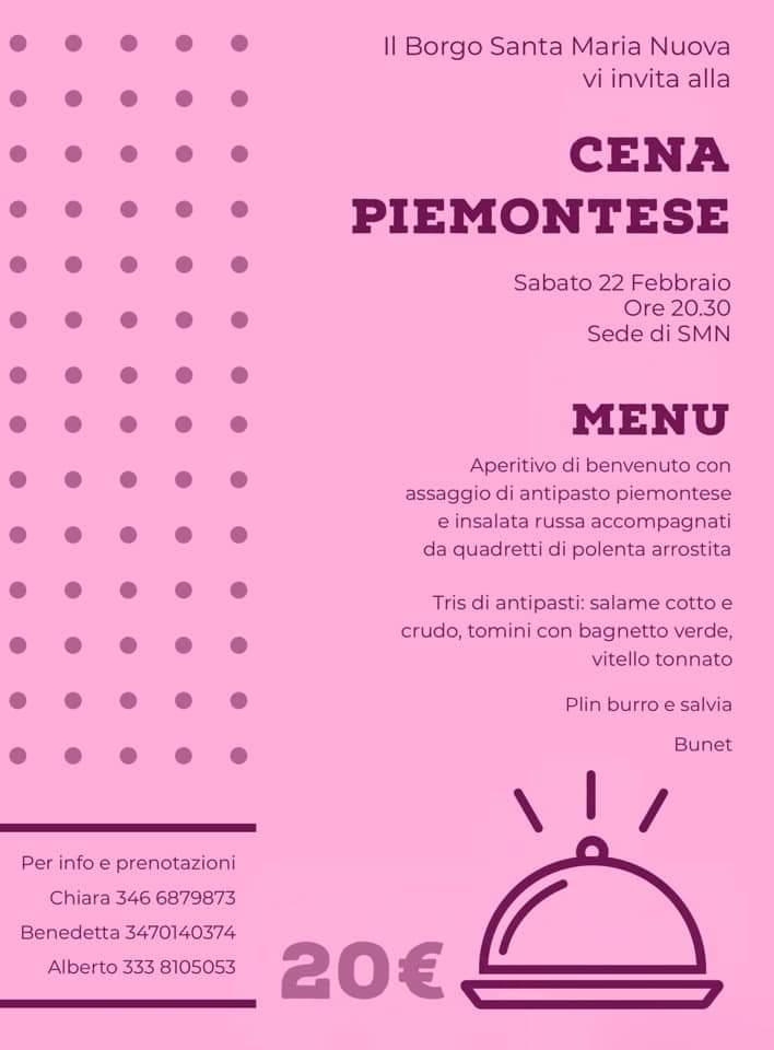 Palio di Asti, Borgo Santa Maria Nuova: 22/02 CenaPiemontese