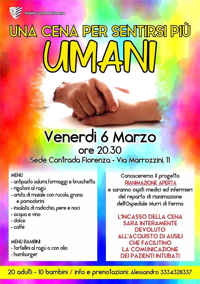 """Cavalcata dell'Assunta Fermo, Contrada Fiorenza: 06/03 """"Una cena per sentirsi piùumani"""""""