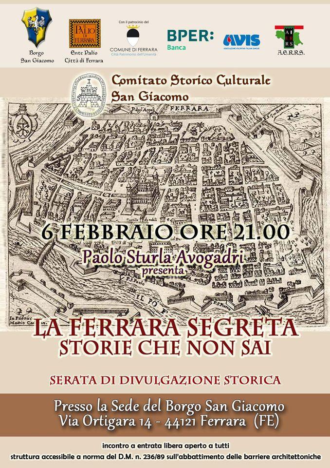 Palio di Ferrara: Oggi 06/02 La Ferrara segreta svelata alla contrada SanGiacomo