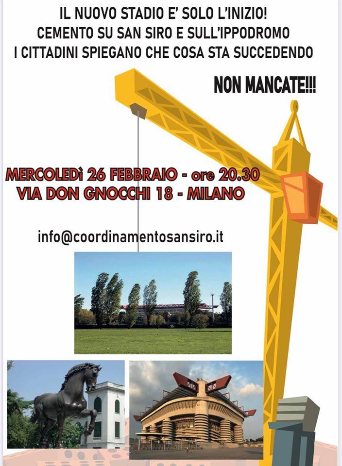 Ippica, Milano: 26/02 Importante incontro pubblico per conoscere la situazione di tutta l'area di SanSiro