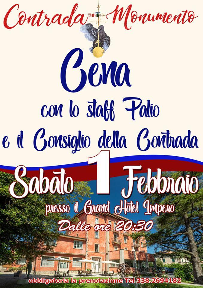 Palio di Castel del Piano, Contrada Monumento: Oggi 01/02 Cena dello Staff Palio e ConsiglioContrada