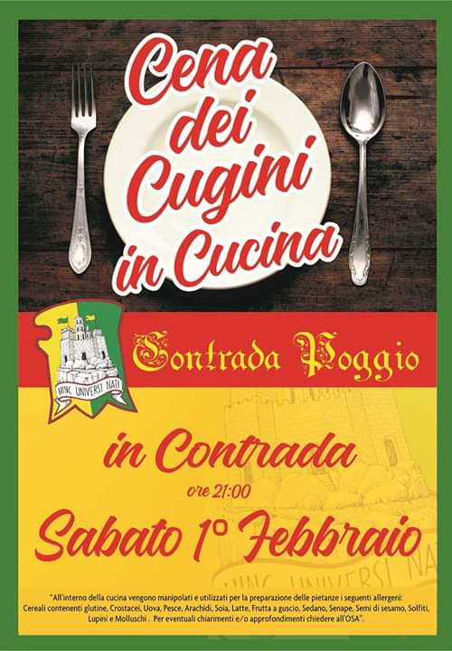 """Palio di Castel del Piano, Contrada Poggio: Oggi 01/02 """"I Cugini inCucina"""""""