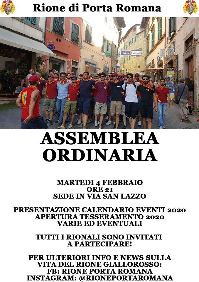 Palio di Castiglion Fiorentino, Rione Porta Romana: Oggi 04/02 AssembleaOrdinaria