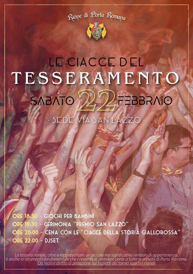Palio di Castiglion Fiorentino, Rione Porta Romana: 22/02 Cena delTesseramento