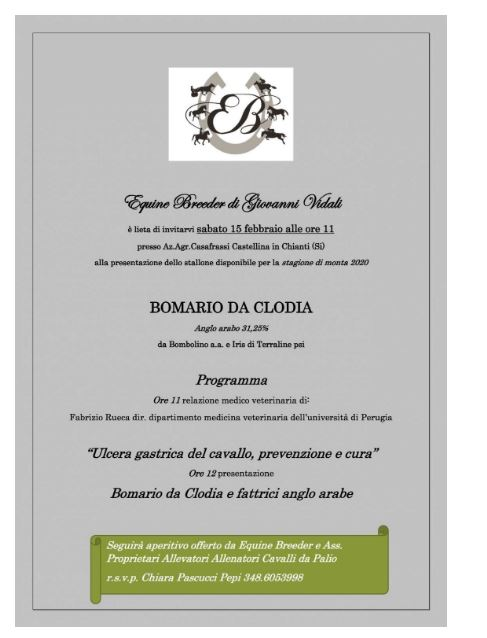 Ippica: 15/02 Presentazione Stallone Bomario da Clodia presso Equine Breeder di GiovanniVidali