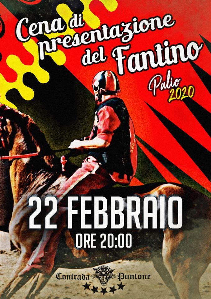palio di Bientina, Contrada Puntone: 22/02 Cena presentazione Fantino Palio2020