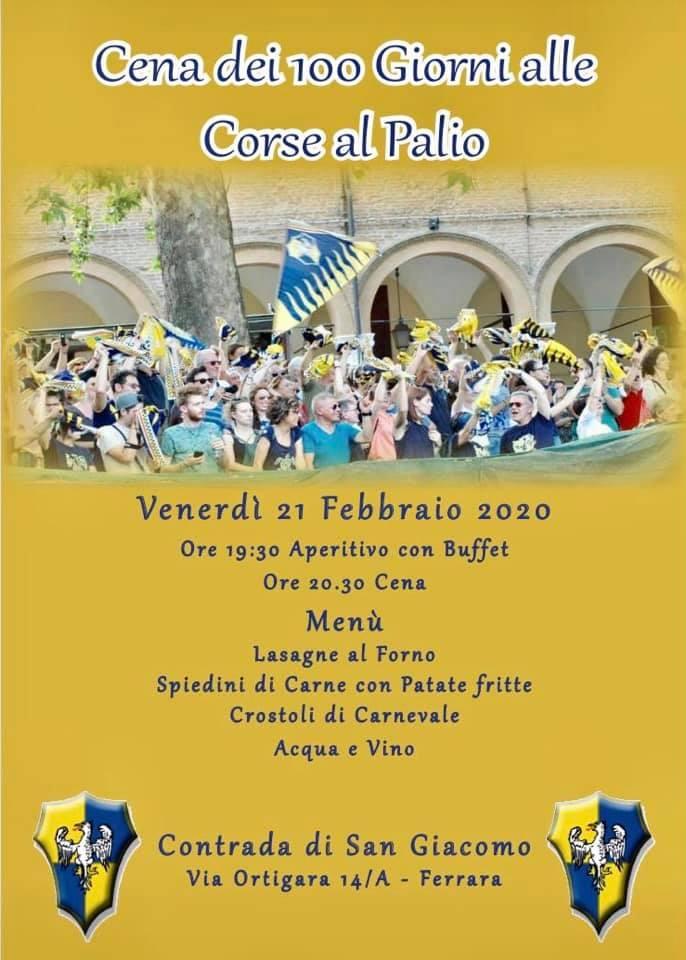 Palio di Ferrara, Contrada San Giacomo: 21/02 Cena dei 100 Giorni  alle Corse delPalio