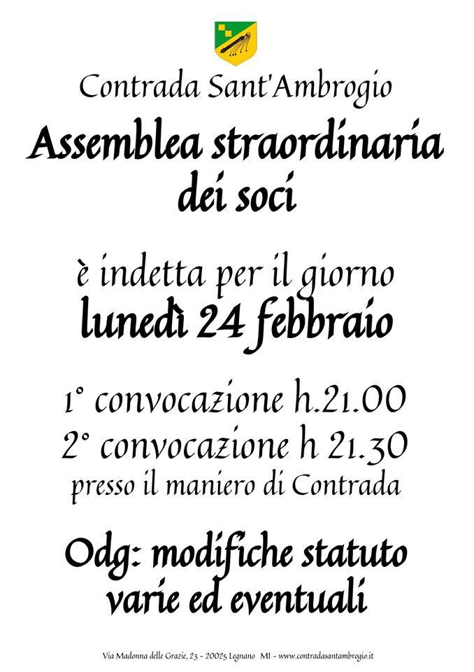 Palio di Legnano, Contrada Sant'Ambrogio: 24/02 Assemblea Straordinaria deiSoci