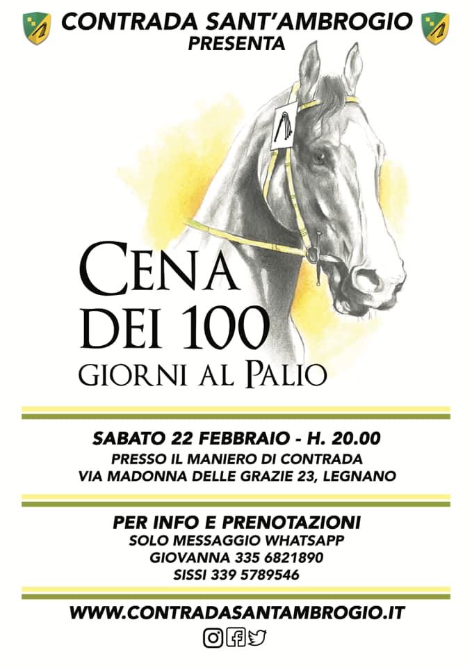 Palio di Legnano, Contrada Sant'Ambrogio: 22/02 Cena dei 100 Giorni alPalio