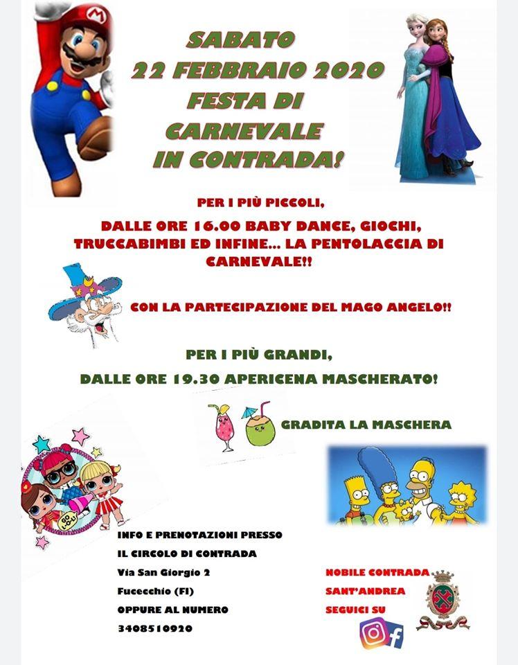 Palio di Fucecchio, Contrada Sant'Andrea: Domani 22/02 Festa di Carnevale inContrada