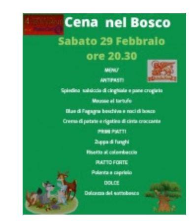Siena, Società San Marco: Oggi 29/02 Cena nelBosco