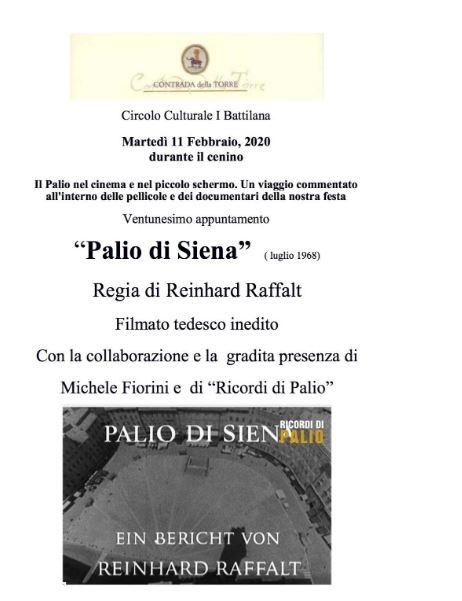 """Siena, Contrada della Torre: Oggi 11/02 Cenino con il ventunesimo appuntamento de """"Il Palio nel cinema e nel piccoloschermo"""""""
