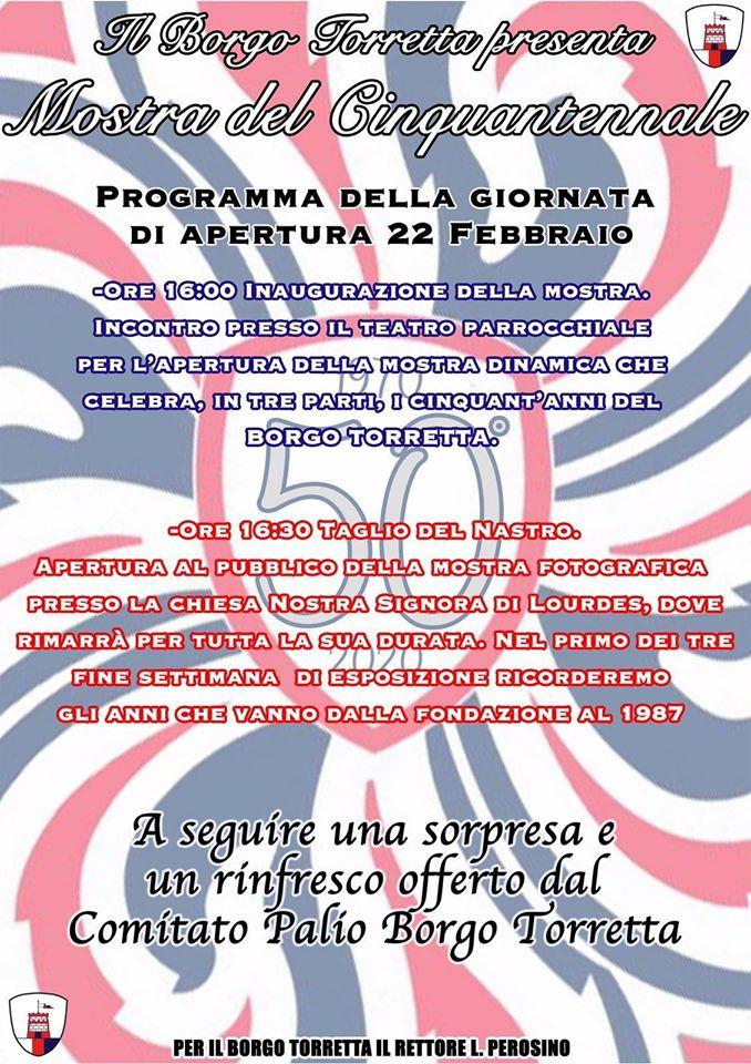 Palio di Asti, Comitato Palio Borgo Torretta: 22/02 Programma della Giornata di Apertura  della Mostra delCinquantennale