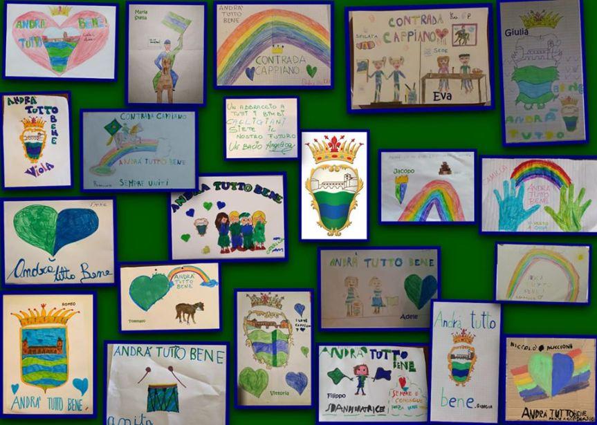 Palio di Fucecchio, Contrada Cappiano: I bambini hanno realizzato dei disegni contententi i colori dellaloroContrada