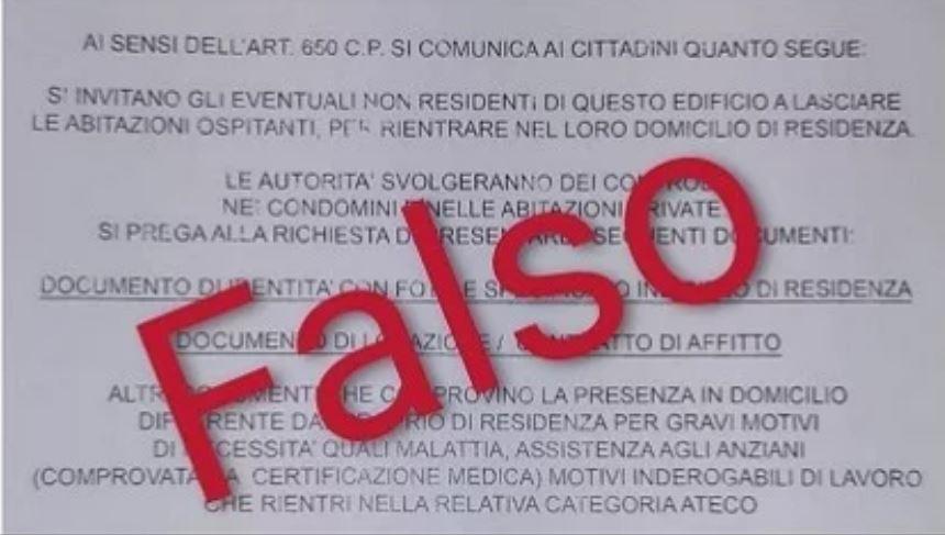Italia: Il volantino falso che obbliga di rientrare nel proprio domicilio diresidenza