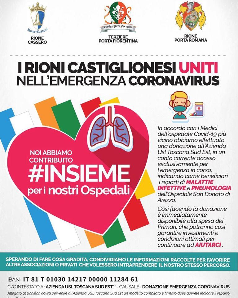 Palio di Castiglion Fiorentino: Oggi 31/03 I Rioni Castiglionesi Uniti nell'Emergenza Coronavirus