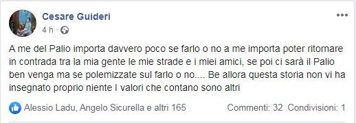 Palio di Siena: Il post su fb del senese Cesare Guideri sull'eventualità di disputare o meno i Palii2020