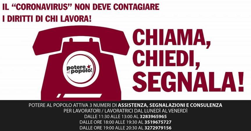 Siena, Potere al Popolo: Numero assistenza, segnalazioni, consulenza lavoratori, periodoCoronavirus