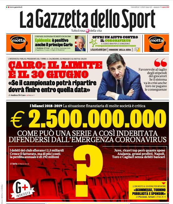 Italia, Dalla Gazzetta dello Sport: La scommessa sportiva è sfida nonazzardo
