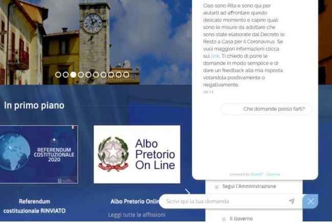 """Provincia di Siena, Emergenza sanitaria: sul sito del Comune di Chianciano Terme l'assistente virtuale """"Rita"""", una chatbot che risponde in temporeale"""