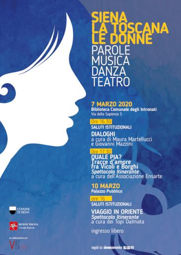 """""""Siena, la toscana: le donne"""". Parole, musica, danza, teatro per festeggiare l'universo femminile in occasione dell'8marzo"""