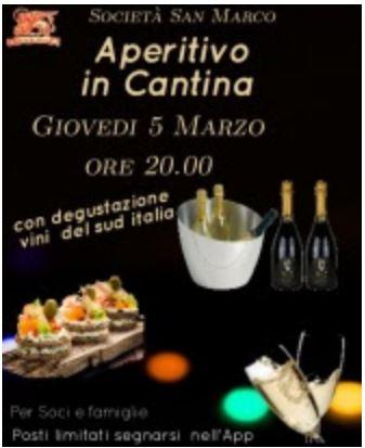 Siena,Società San Marco: 05/03 Aperitivo inCantina