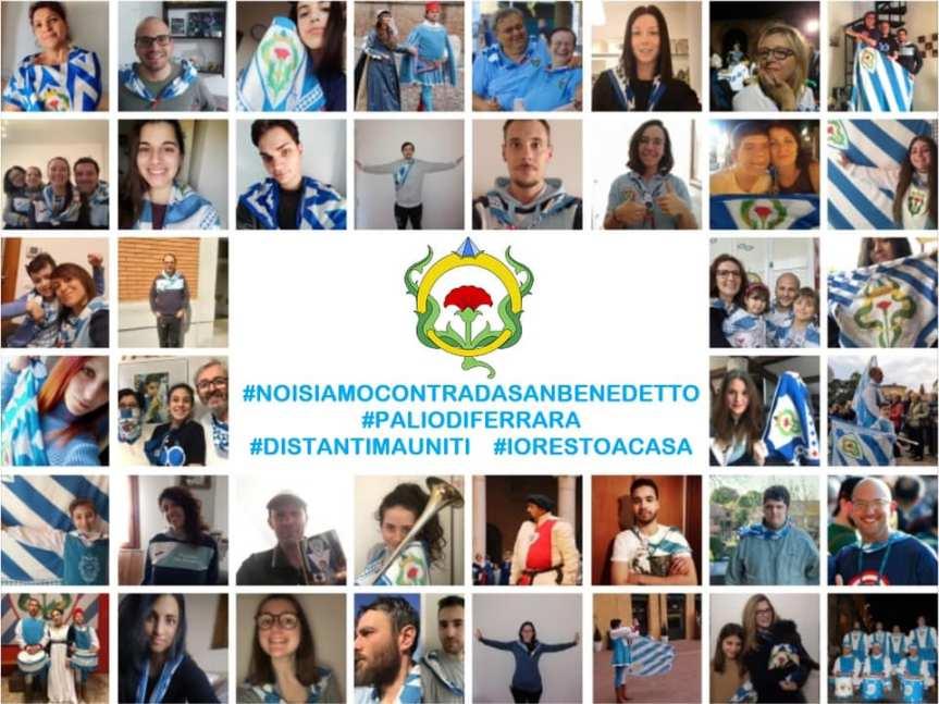 Palio di Ferrara, Rione San Benedetto: messaggio di speranza contro Covid-19, #distantimauniti #iorestoacasa