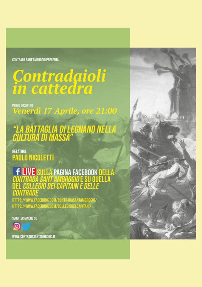 """Palio di Legnano, Contrada Sant'Ambrogio: Domani 17/04 Contradaioli in Cattedra """"La battaglia di Legnano nella cultura dimassa"""""""
