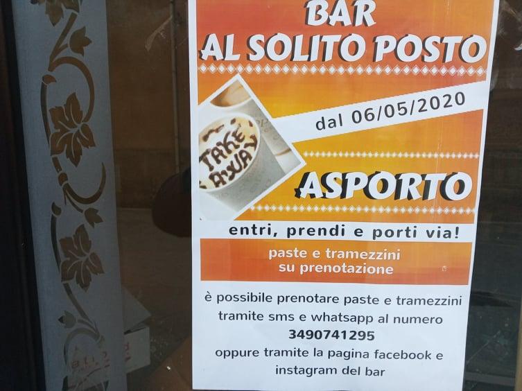 Massi Lo Sà, Sponsor, Bar Al Solito Posto: Dal 06/05 il  bar sarà aperto per servizioasporto