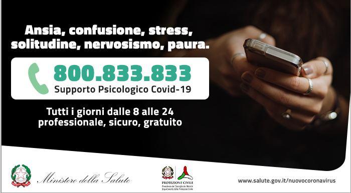 Italia, Covid-19, nasce 800.833.833: Il numero verde di supportopsicologico