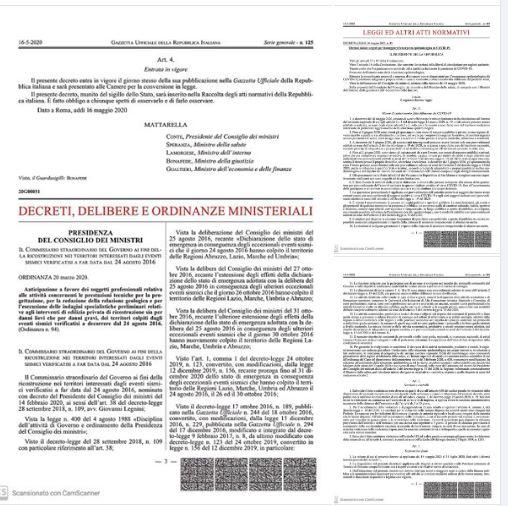 Italia: Il Decreto Legge numero 33 del 16/5/2020 pubblicato sulla GazzettaUfficiale