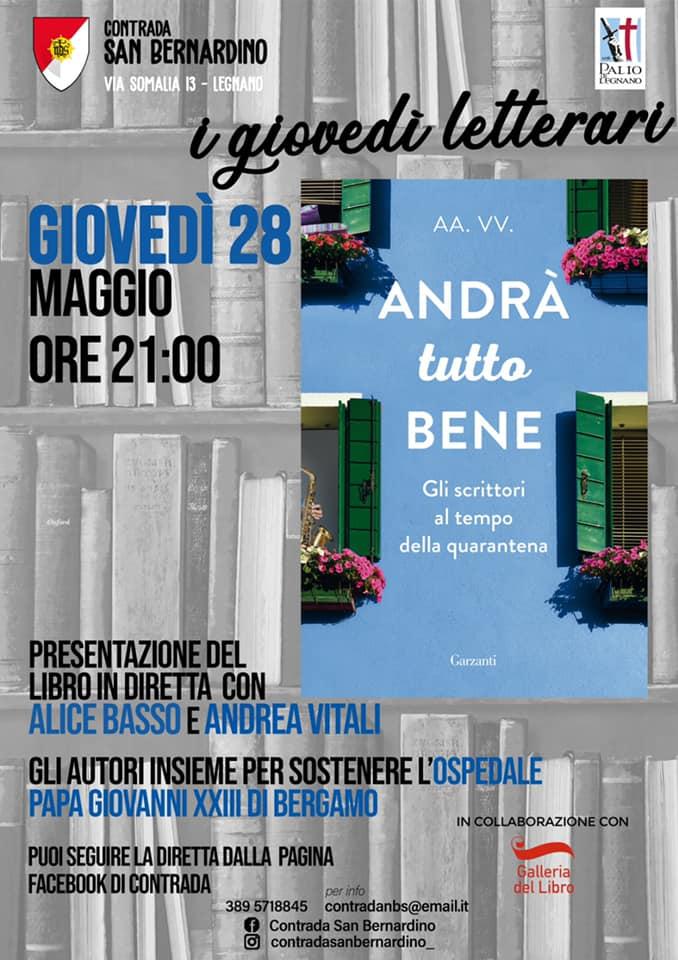 """Palio di Legnano, Contrada San Bernardino: 28/05 """"I Giovedì Letterari"""" Presentazione Libro """"Andrà tuttobene"""""""