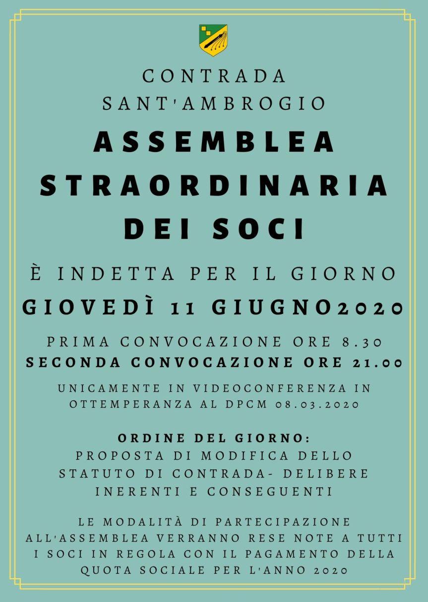 Palio di Legnano, Contrada Sant'Ambrogio: 11/06 Assemblea Straordinaria deiSoci