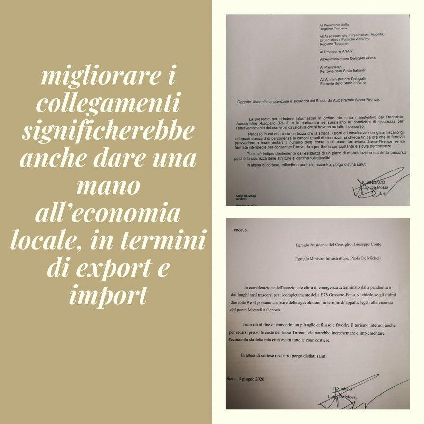 Siena: Oggi 08/06 il Sindaco Luigi De Mossi ha inviato due letterem una a Giuseppe Conte e una  Paolla DeMicheli