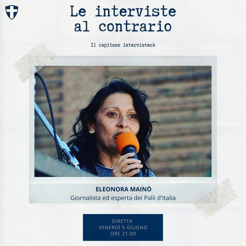 Palio di Legnano, Contrada San Martino: Domani 05/06 Le interviste al Contrario De pascali intervista la giornalista EleonoraMainò