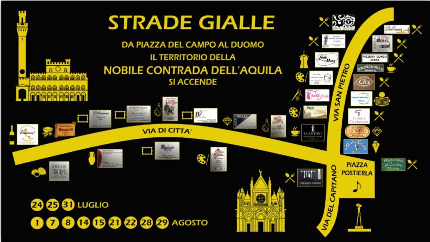 """Siena, Contrada dell'Aquila: 24-25/07 Parte l'evento """"StradeGialle"""""""