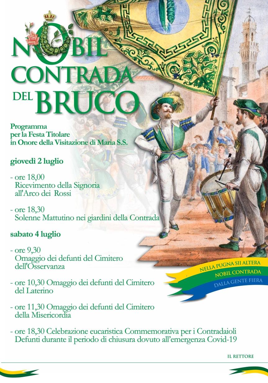 Siena, Contrada del Bruco: Domani 02/07 e sabato 04/07 Programma Festa Titolare2020