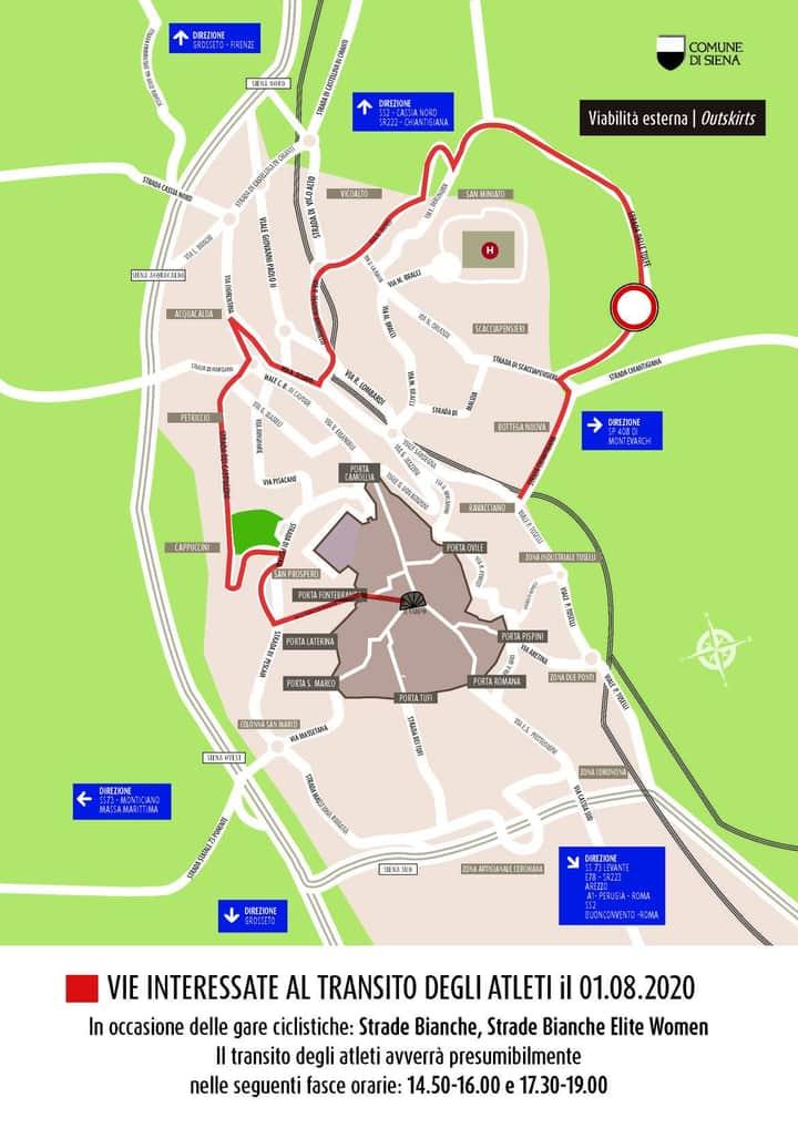 Siena: Le modifiche al traffico per le strade bianche del01/08