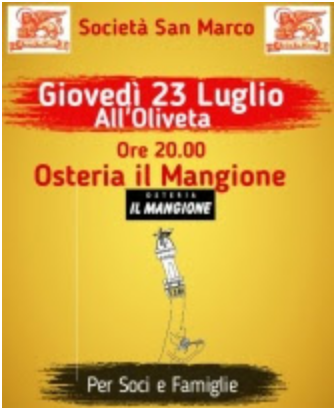 "Siena, Società San Marco: Osteria ""Il Mangione"" all'Oliveta"